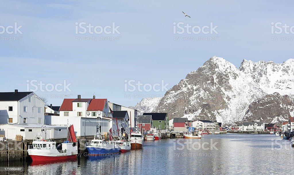 Harbor of Henningsvaer in winter, Lofoten Islands, Norway royalty-free stock photo