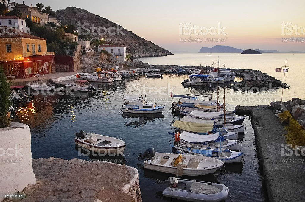 Harbor of Hydra, Greece at sunset stock photo