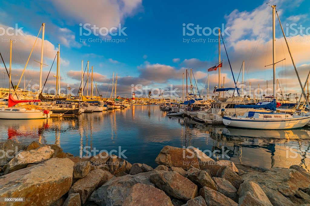 Harbor of Oceanside with recreational boats and Lighthouse, CA(P stock photo