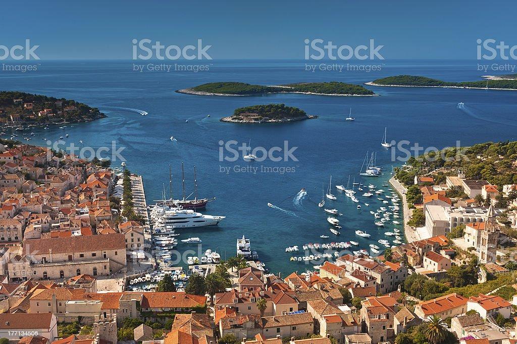 Harbor of old Adriatic island town Hvar, Croatia. stock photo