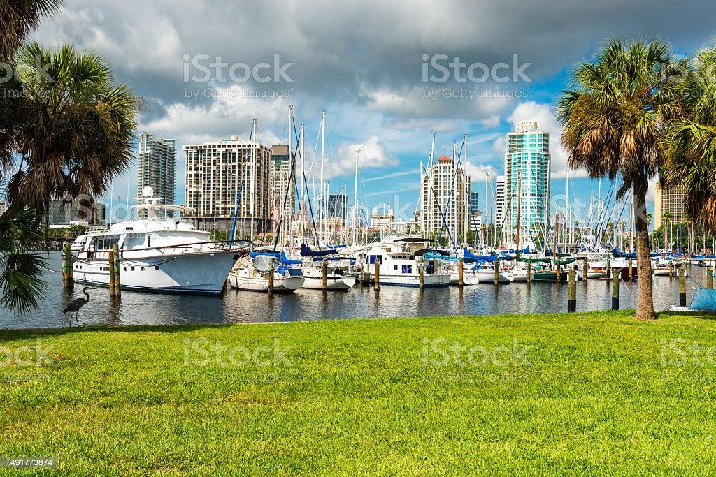 harbor of St. Petersburg in Florida stock photo