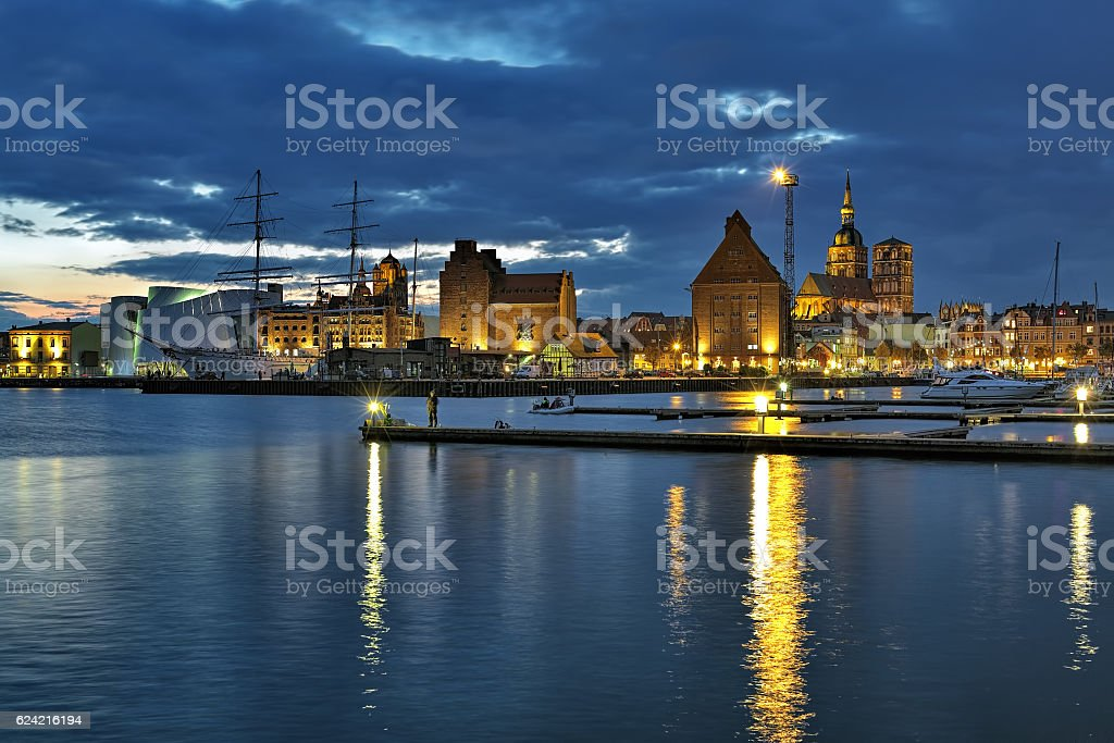 Harbor of Stralsund in the sunset, Germany stock photo