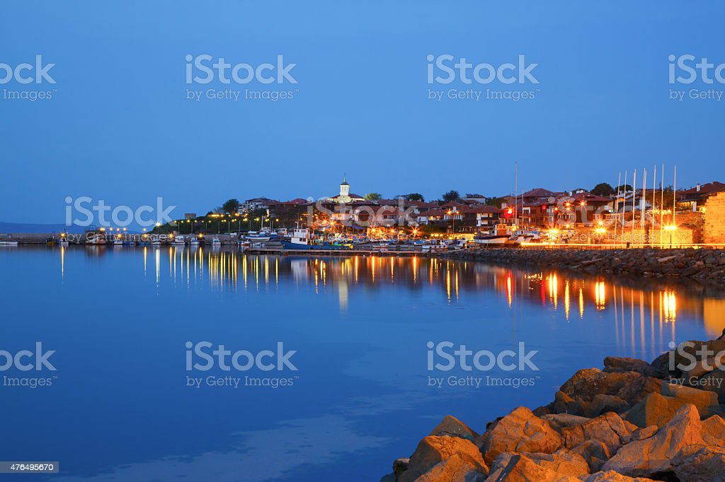 Harbor of the old town of Nessebar, Bulgaria stock photo