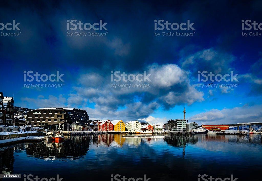 Harbor of Tromsø stock photo