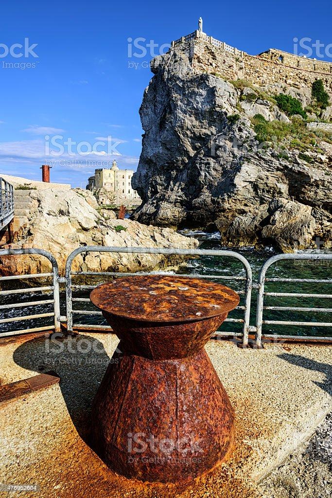 Harbor on Island of Pianosa in Tuscany, Italy stock photo