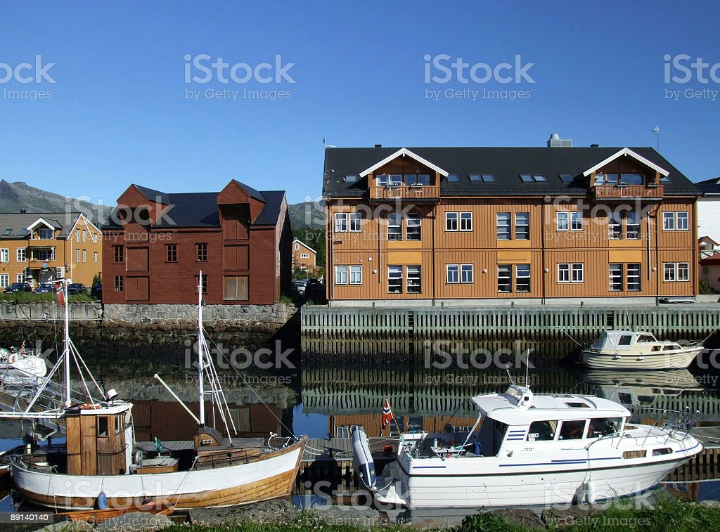 Harbor - postcard from Norway stock photo