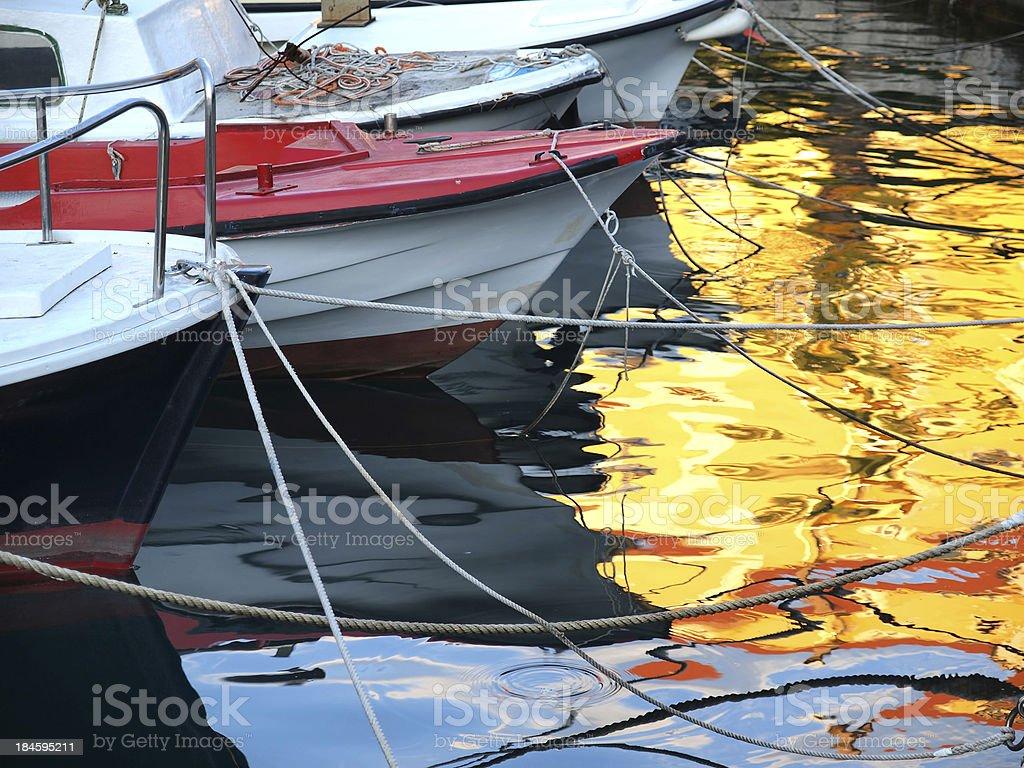 Harbor reflections royalty-free stock photo