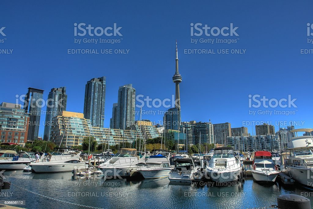 Harbor Scenery of Marina Quay West in Toronto, Canada stock photo