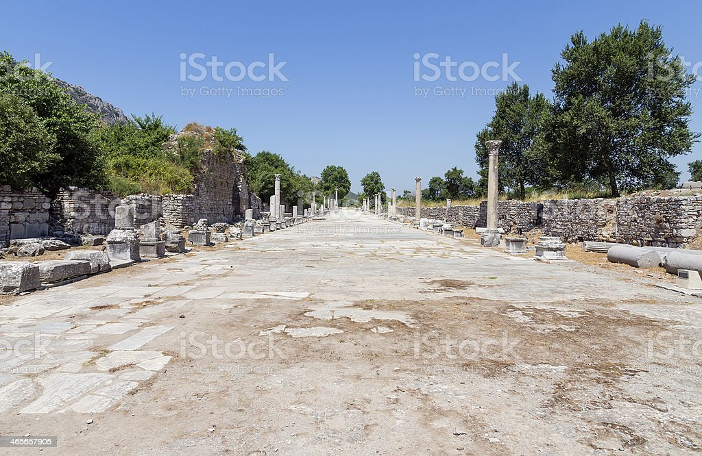 Harbor street in ancient Ephesus, Turkey royalty-free stock photo
