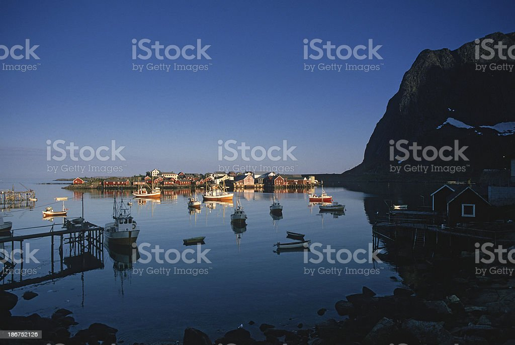 Harbor sunset - Lofoten royalty-free stock photo