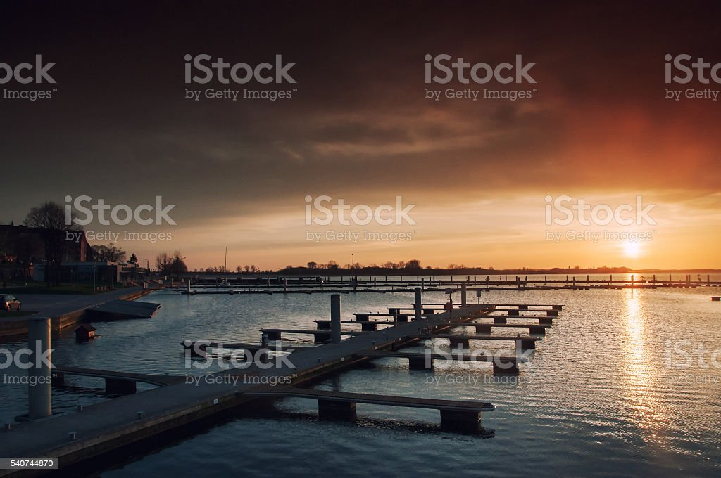 Harbor Sunset with no Boats stock photo