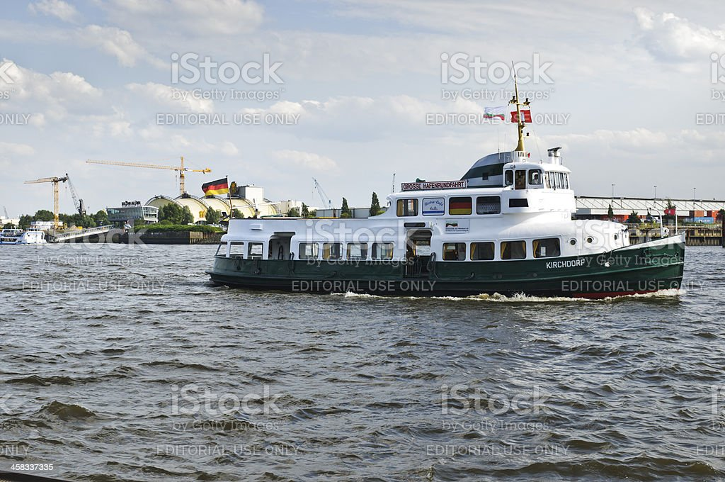 Harbor tour by motorboat Kirchdorf in Hamburg stock photo