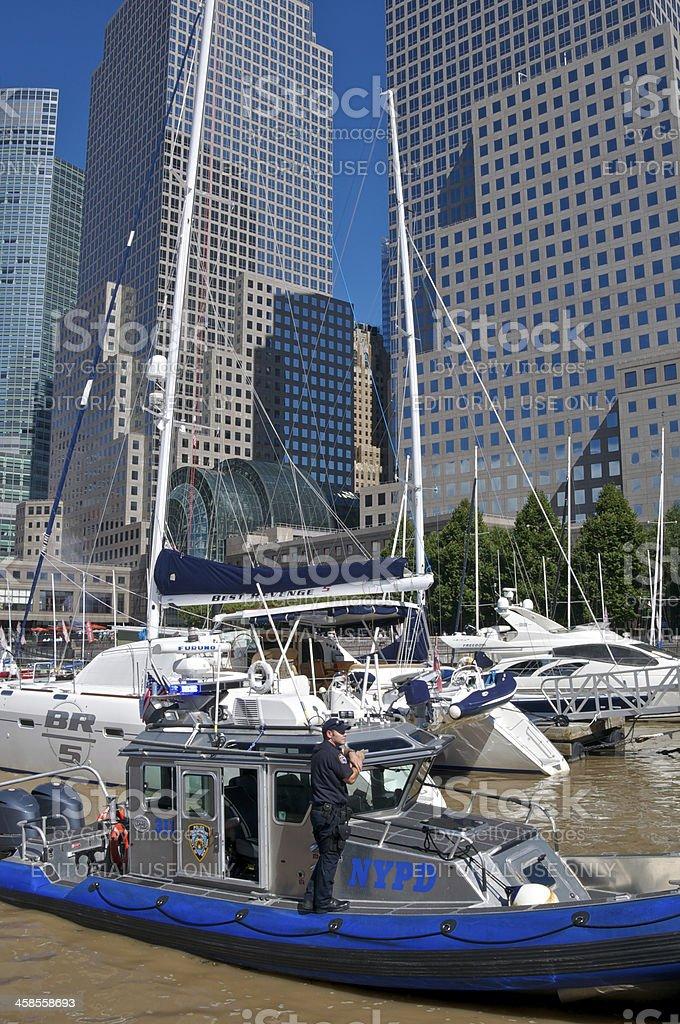 NYPD Harbor Unit boat at North Cove Marina, Manhattan, NYC royalty-free stock photo