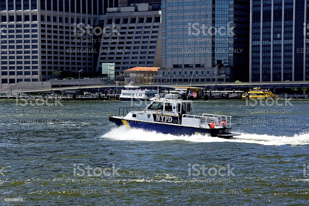 NYPD Harbor Unit Launch No.35, East River, Lower Manhattan, NYC royalty-free stock photo