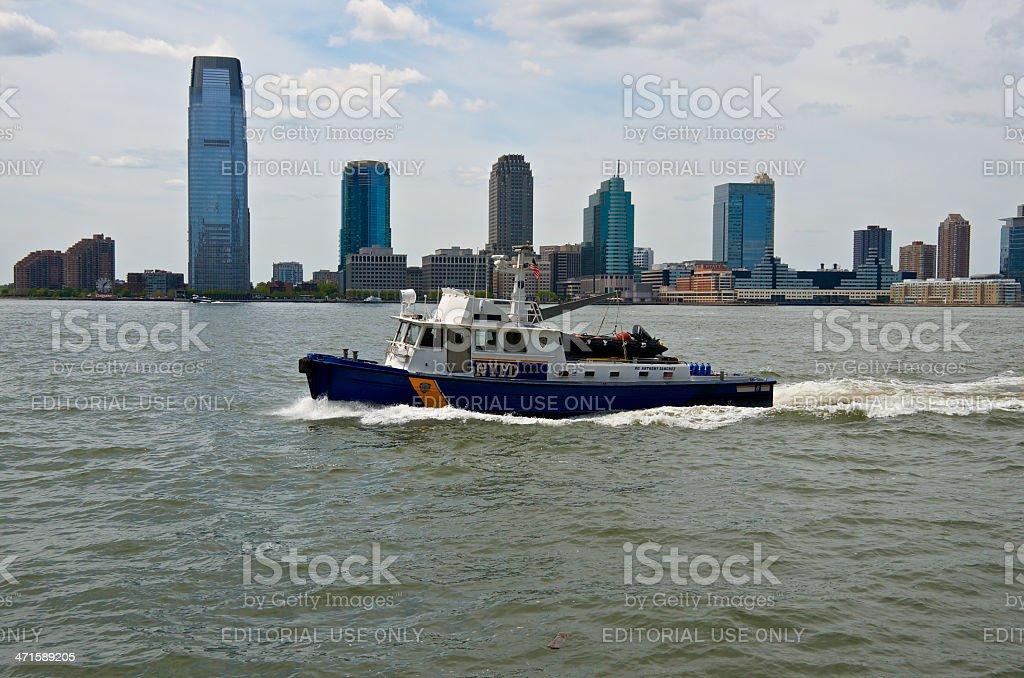 NYPD Harbor Unit Launch P.O. Anthony Sanchez, Hudson River, NYC royalty-free stock photo