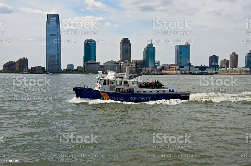 NYPD Harbor Unit Launch P.O. Anthony Sanchez, Hudson River, NYC stock photo
