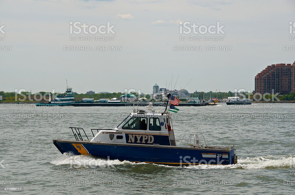 NYPD Harbor Unit Launch P.O. Raymond Cannon, Hudson River, NYC royalty-free stock photo