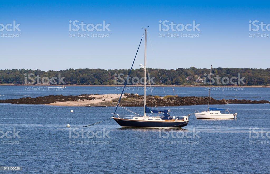 Harbor View, Moored Sailboats and Blue Sky, Portland, Maine, USA. stock photo