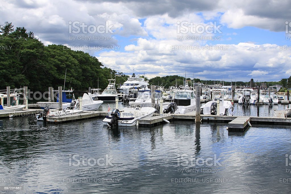 Harbor View with Moored Boats in Kennebunkport, Maine, USA. stock photo