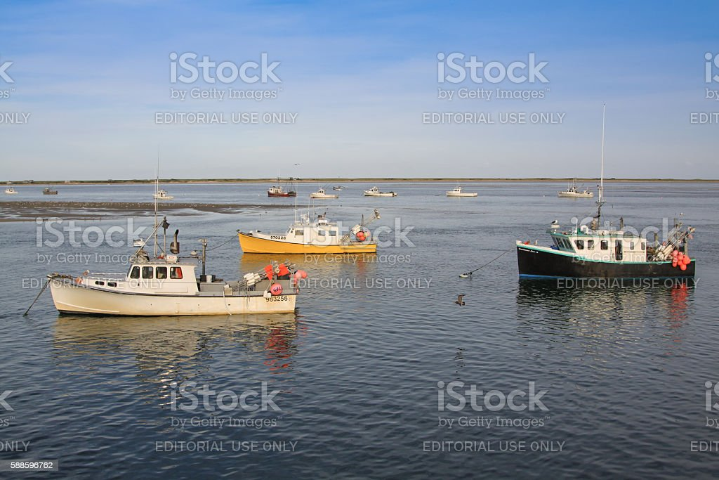 Harbor View with Moored Fishing Boats, Chatham, Cape Cod, Massachusetts. stock photo
