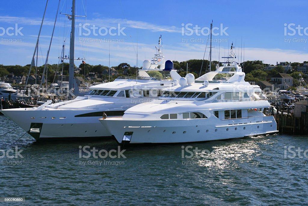 Harbor View with Pier and Luxury Yachts, Nantucket Island, Massachusetts. stock photo