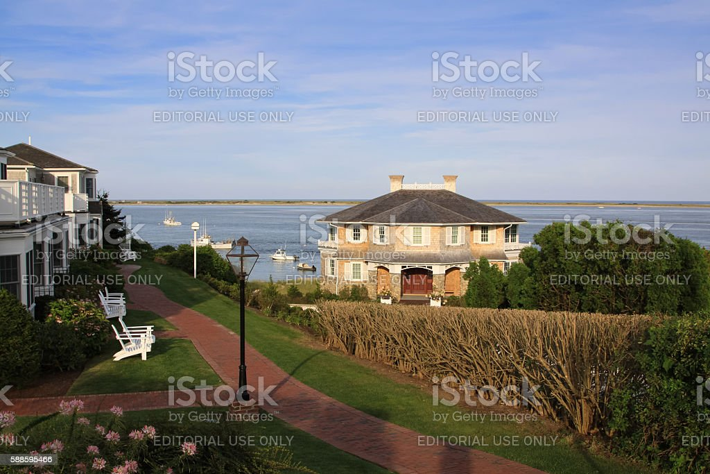 Harbor View with Waterfront Hotels, Chatham, Cape Cod, Massachusetts. stock photo