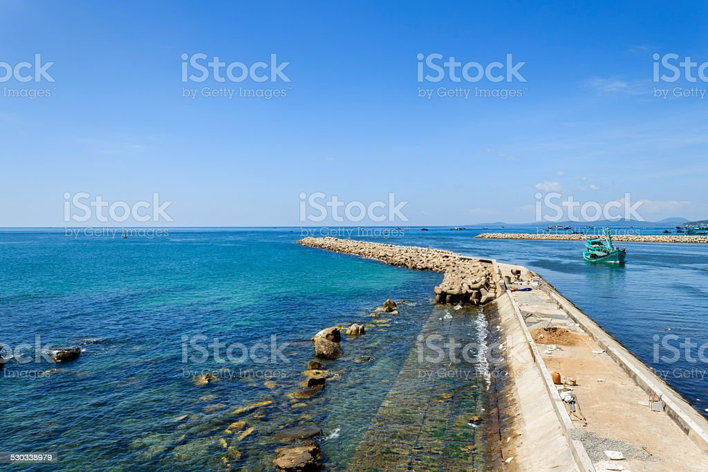 Harbor with blue sea stock photo