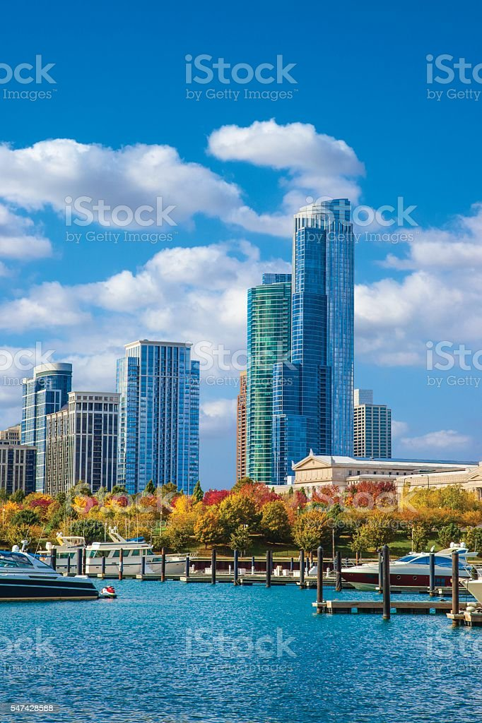 Harbor with Chicago skyline and Lake Michigan, Ill stock photo
