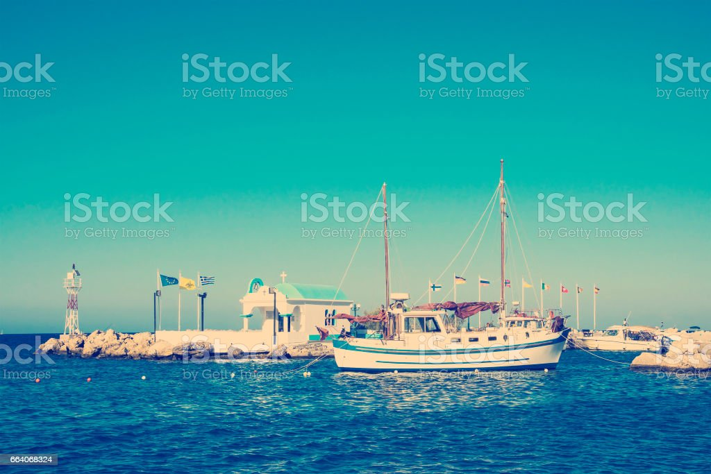 harbor with church and lighthouse stock photo