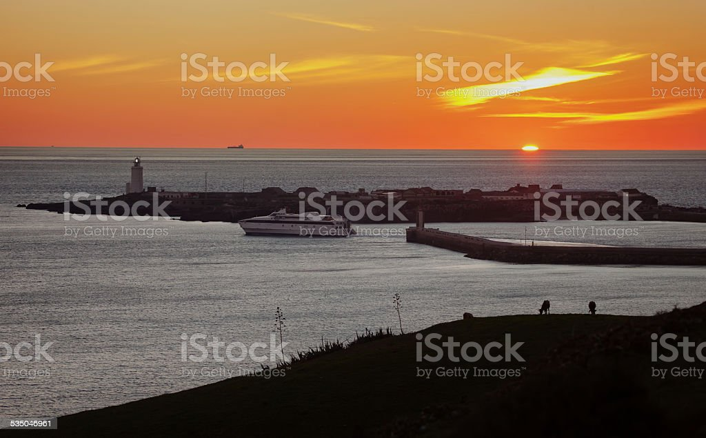 harbor with lighthouse royalty-free stock photo