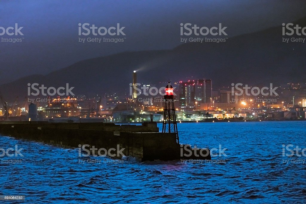 Harbor with lighthouse stock photo
