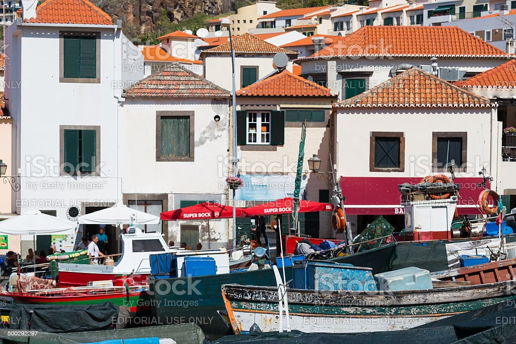 Harbor with restaurants and fishing ships at Madeira stock photo
