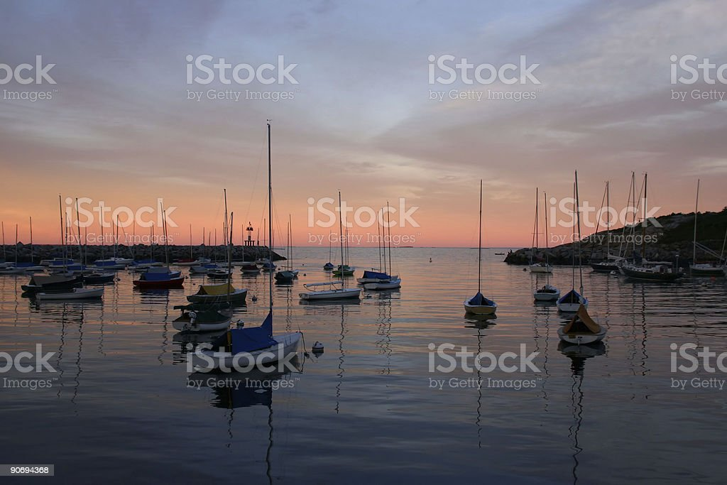 Harbor with Sail Boats at Sunset stock photo