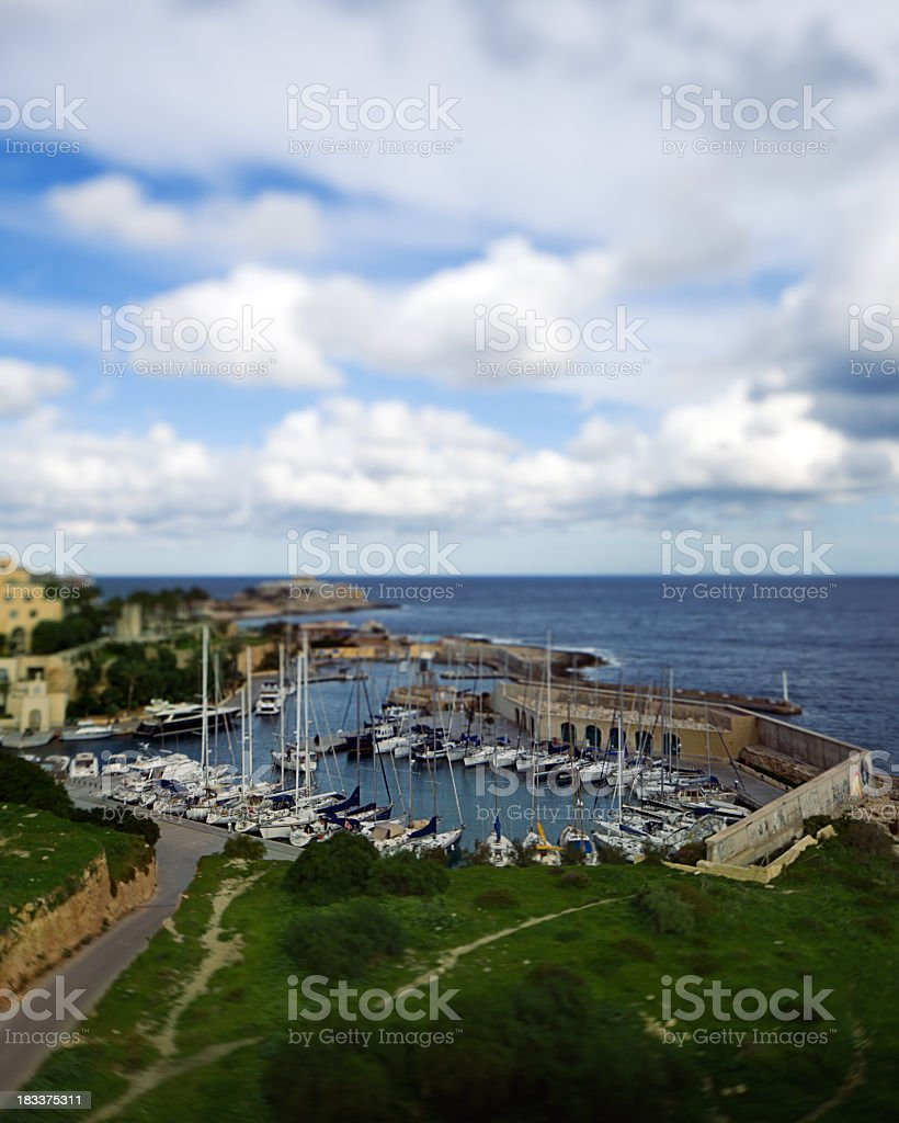 Harbor with sails stock photo