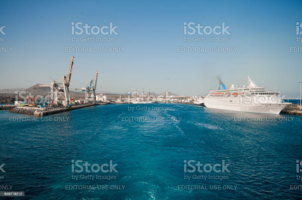 Harbor with ships and cargo cranes in Lanzarote, Spain. stock photo
