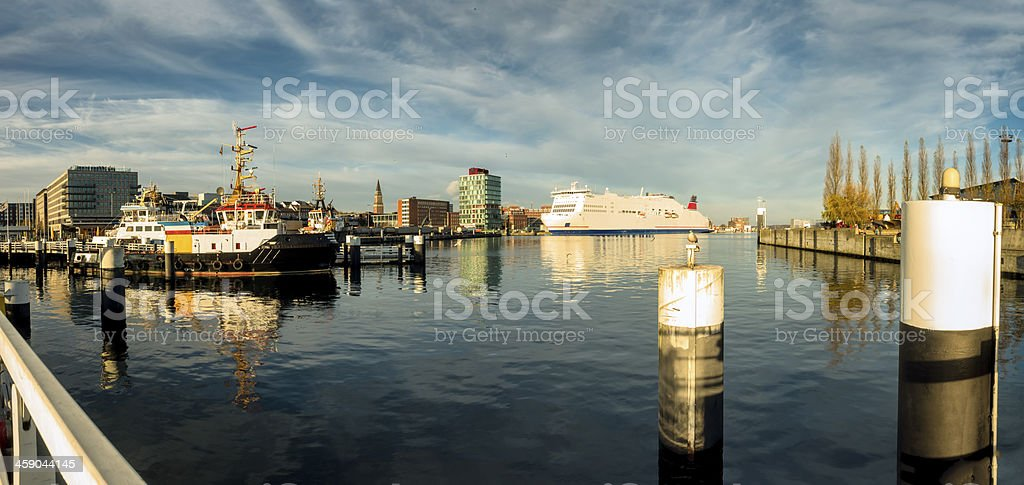 Harbor with ships in Kiel, Germany stock photo