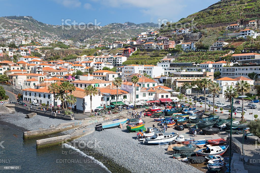 Harbor with tourists and fishing ships at Funchal, Portugal stock photo