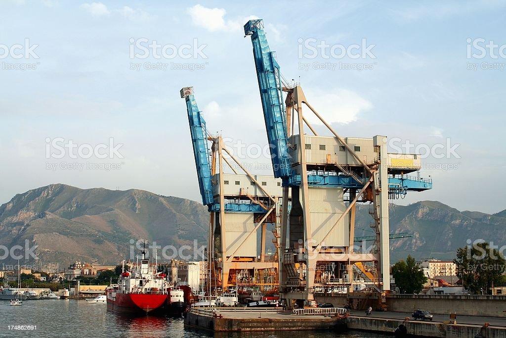 Harbor's cranes stock photo