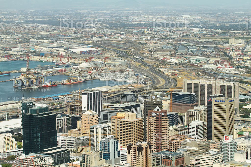 Harbour and business district of Cape Town stock photo