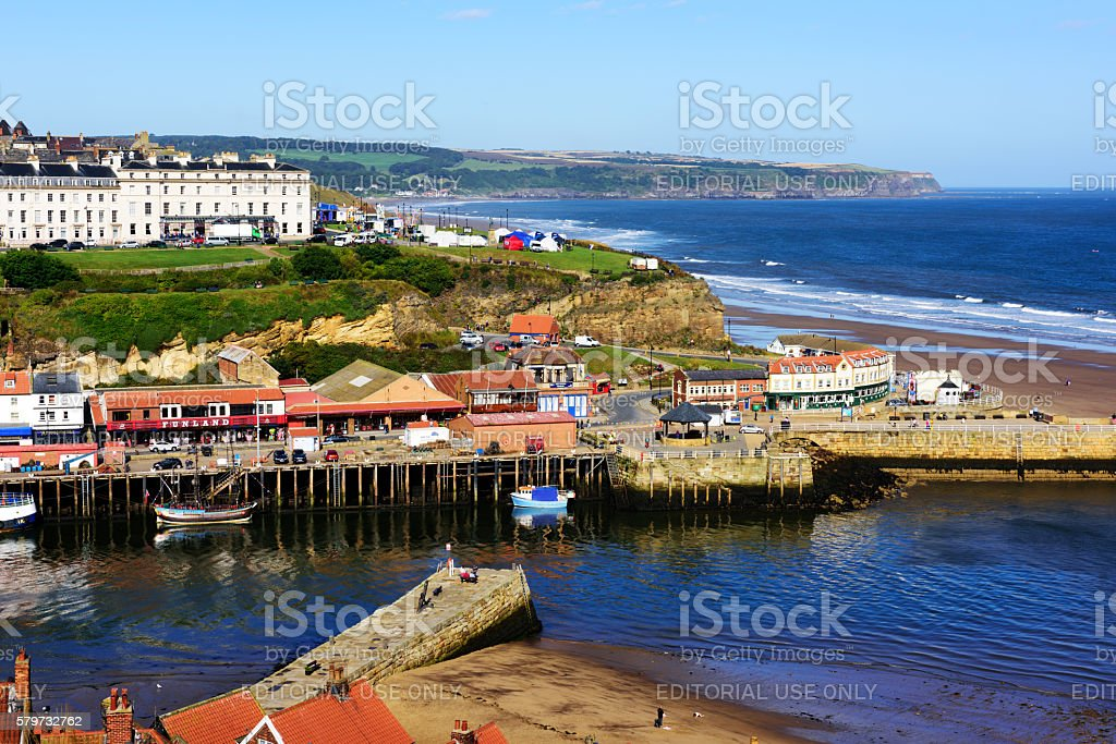Harbour and coastline, Mouth of River Esk, Whitby stock photo