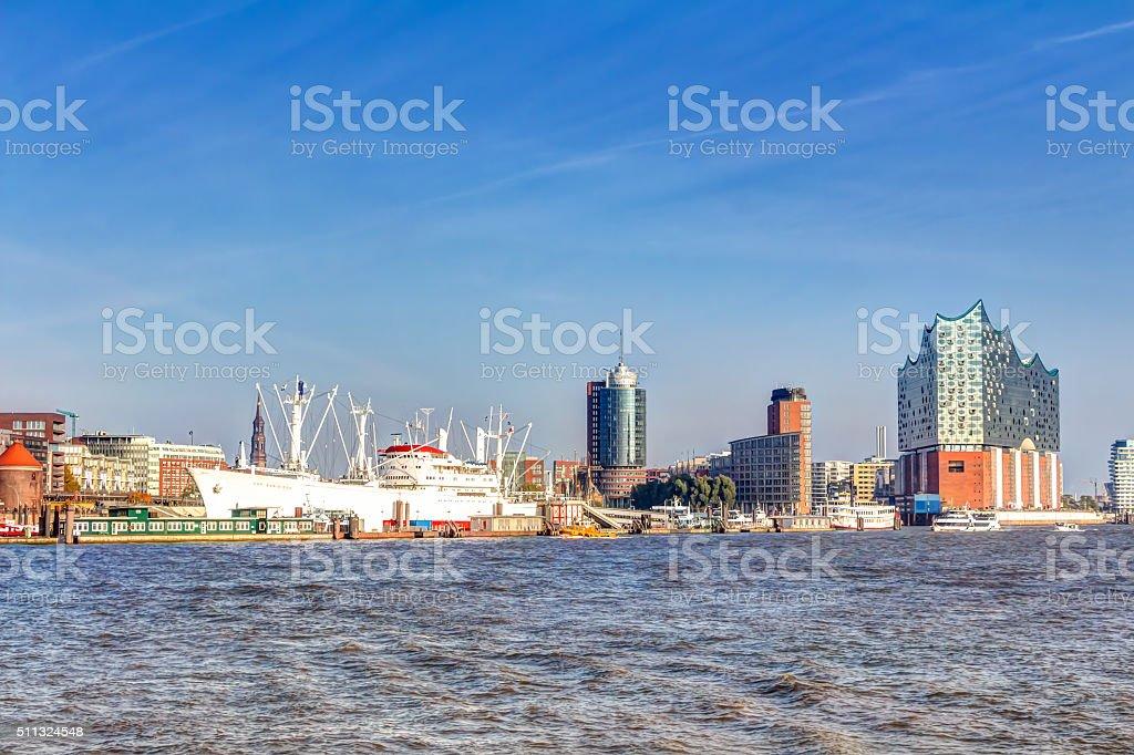 Harbour and Elbphilharmonie in Hamburg stock photo