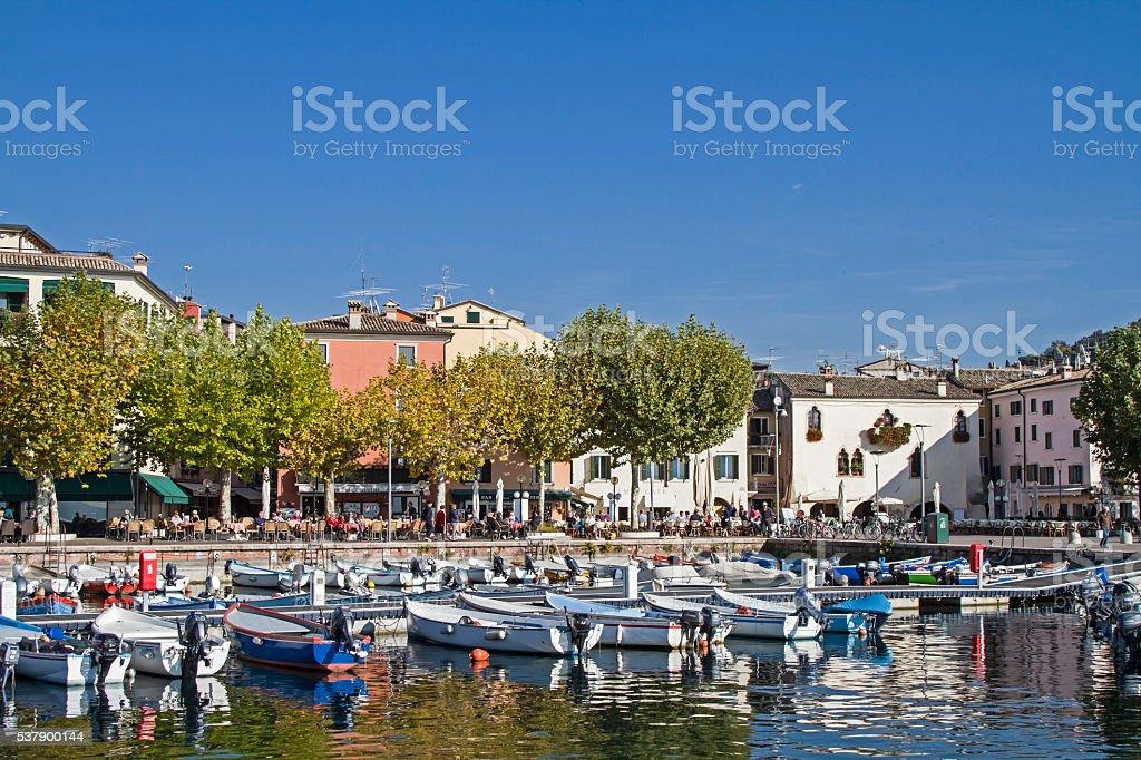 Harbour and lakeside promenade in Garda stock photo