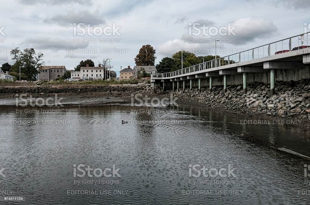 Harbour And Walkway At Salem, MA, USA stock photo
