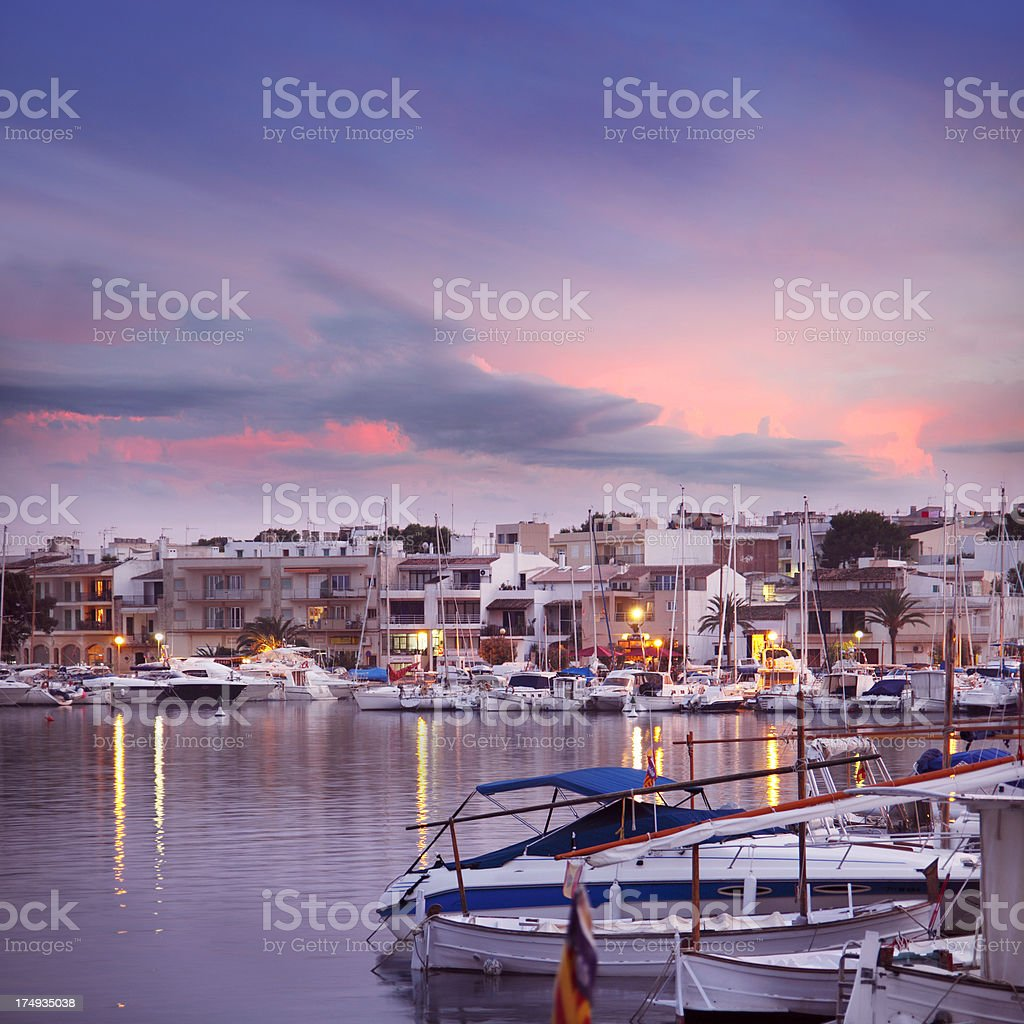 Harbour and waterfront at Portocolom in Majorca royalty-free stock photo
