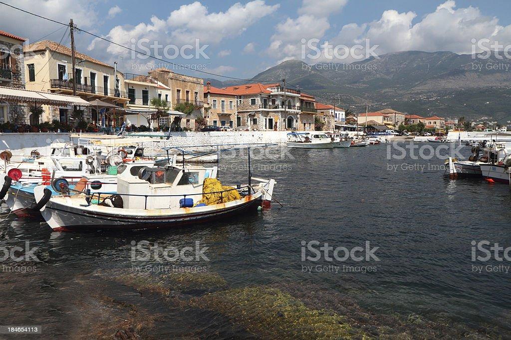 Harbour at Agios Nikolaos, The Mani, Peloponnese, Greece stock photo