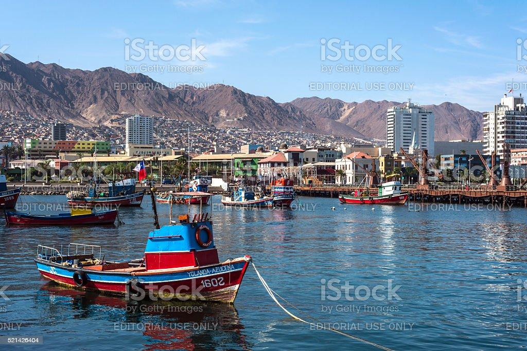 Harbour at Antofagasta in the Atacama Region of Chile stock photo