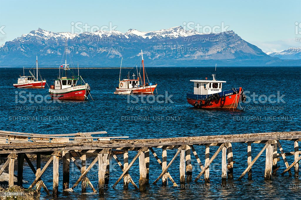 Harbour at Puerto Natales port, Chilean Patagonia stock photo