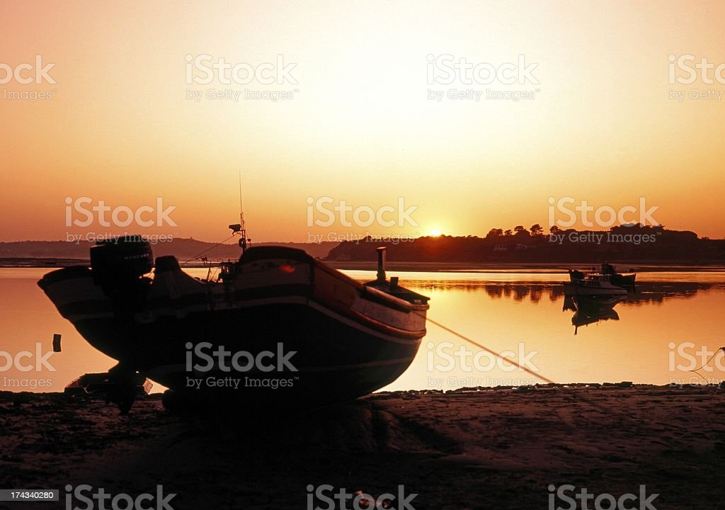 Harbour at sunset, Alvor, Portugal. royalty-free stock photo
