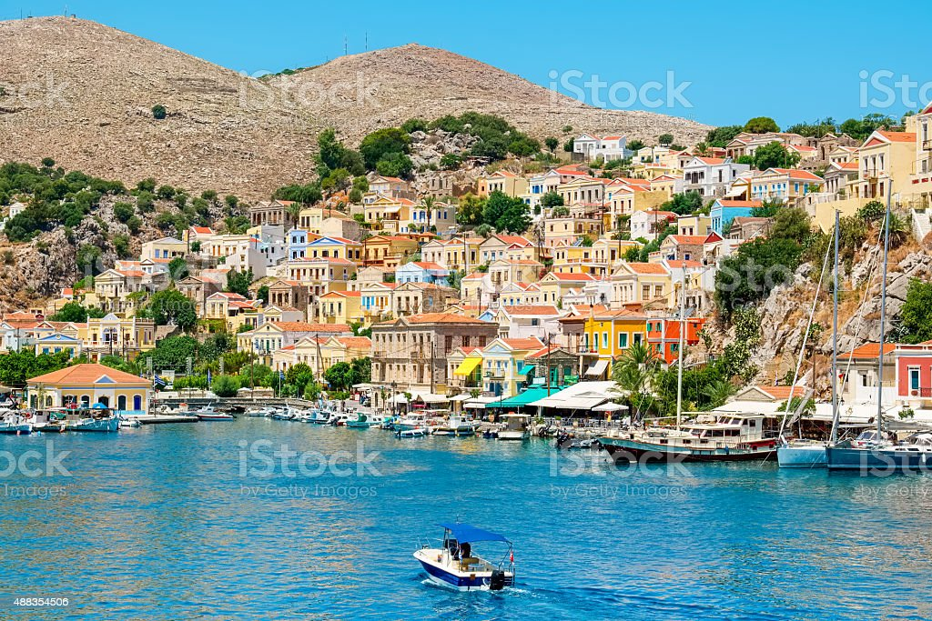 Harbour at Symi. Greece stock photo