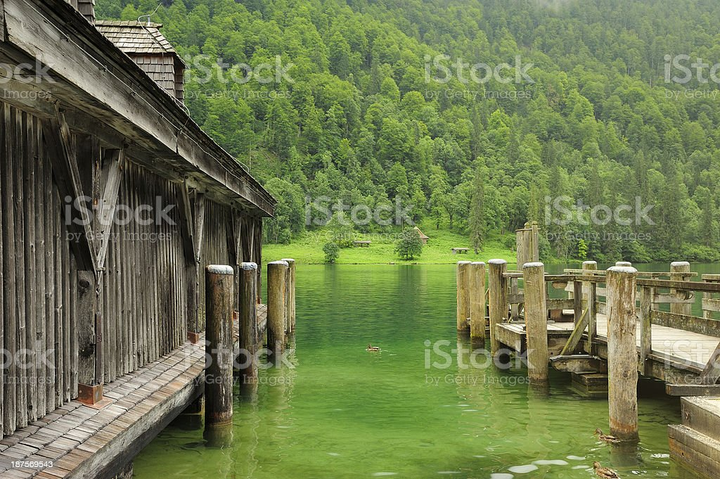 Harbour at the Koenigssee stock photo
